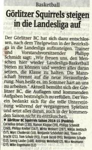 30.04.2015 Sächsische Zeitung